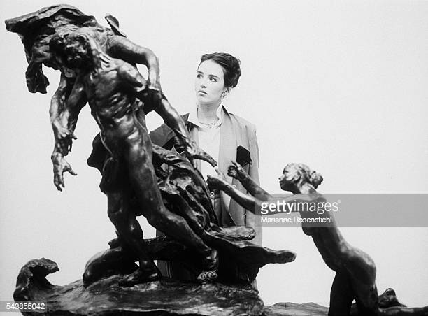 French actress Isabelle Adjani in front of a sculpture by Camille Claudel on the set of the movie based on the life of the sculptress Adjani...