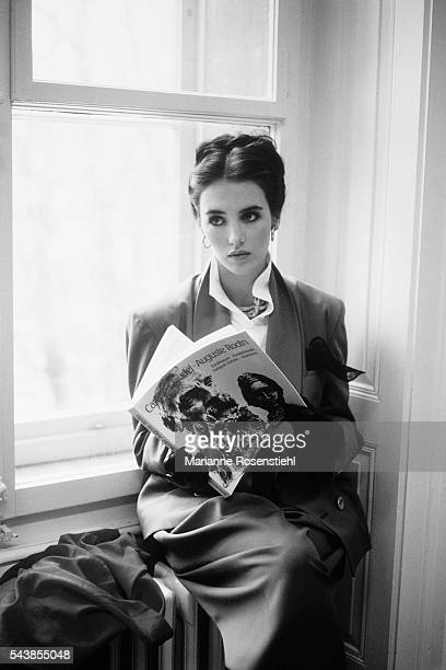 French actress Isabelle Adjani reads a book about Camille Claudel on the set of the movie based on the life of the sculptress Adjani initiated the...