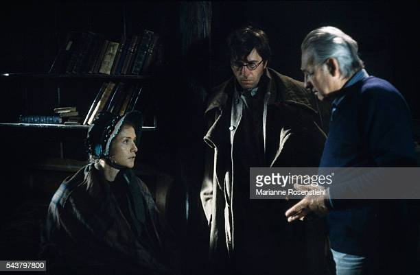 French actress Isabelle Huppert and Polish director Andrzej Wajda on the set of the 1988 film 'Les Possédés'