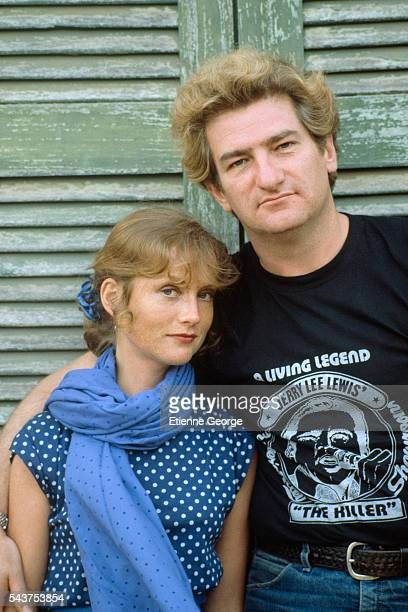 French actress Isabelle Huppert and singer Eddy Mitchell on the movie set of 'Coup de torchon' directed by Bertrand Tavernier