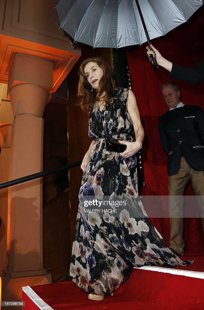 French actress Isabelle Huppert arrives for the opening ceremony of the 12th Marrakech International Film Festival on November 30, 2012 in Marrakech. AFP PHOTO / VALERY HACHE