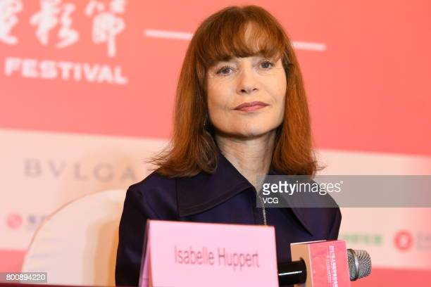 French actress Isabelle Huppert attends the Press Conference for Actors on the Red Carpet for Golden Goblet Awards during the 20th Shanghai...