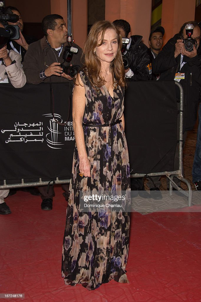 French Actress Isabelle Huppert Attends the 'Touch Of The Light' Opening Film of the 12th Marrakech International Film Festival on November 30, 2012 in Marrakech, Morocco.