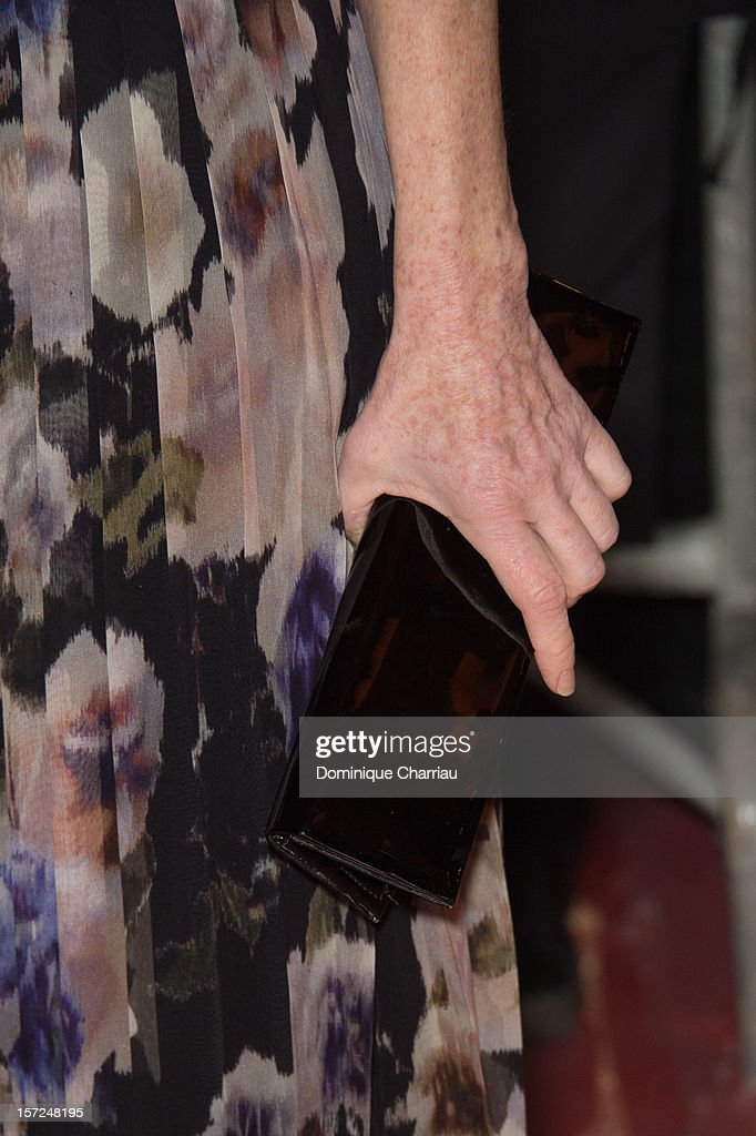 French Actress Isabelle Huppert (bag Detail) Attends the 'Touch Of The Light' Opening Film of the 12th Marrakech International Film Festival on November 30, 2012 in Marrakech, Morocco.