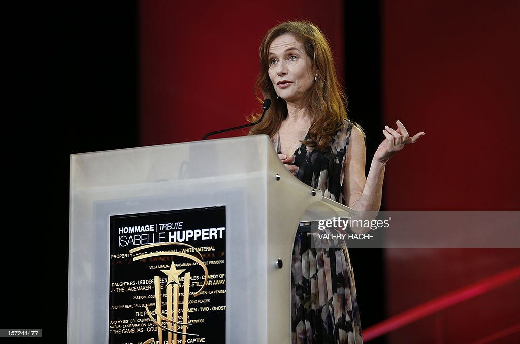 French actress Isabelle Huppert delivers a speech for the tribute during the opening ceremony of the 12th Marrakesh International Film Festival on November 30, 2012 in Marrakesh.