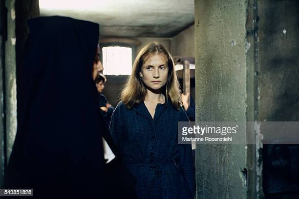 French actress Isabelle Huppert on the set of 'Story of Women' by French director screenwriter and producer Claude Chabrol