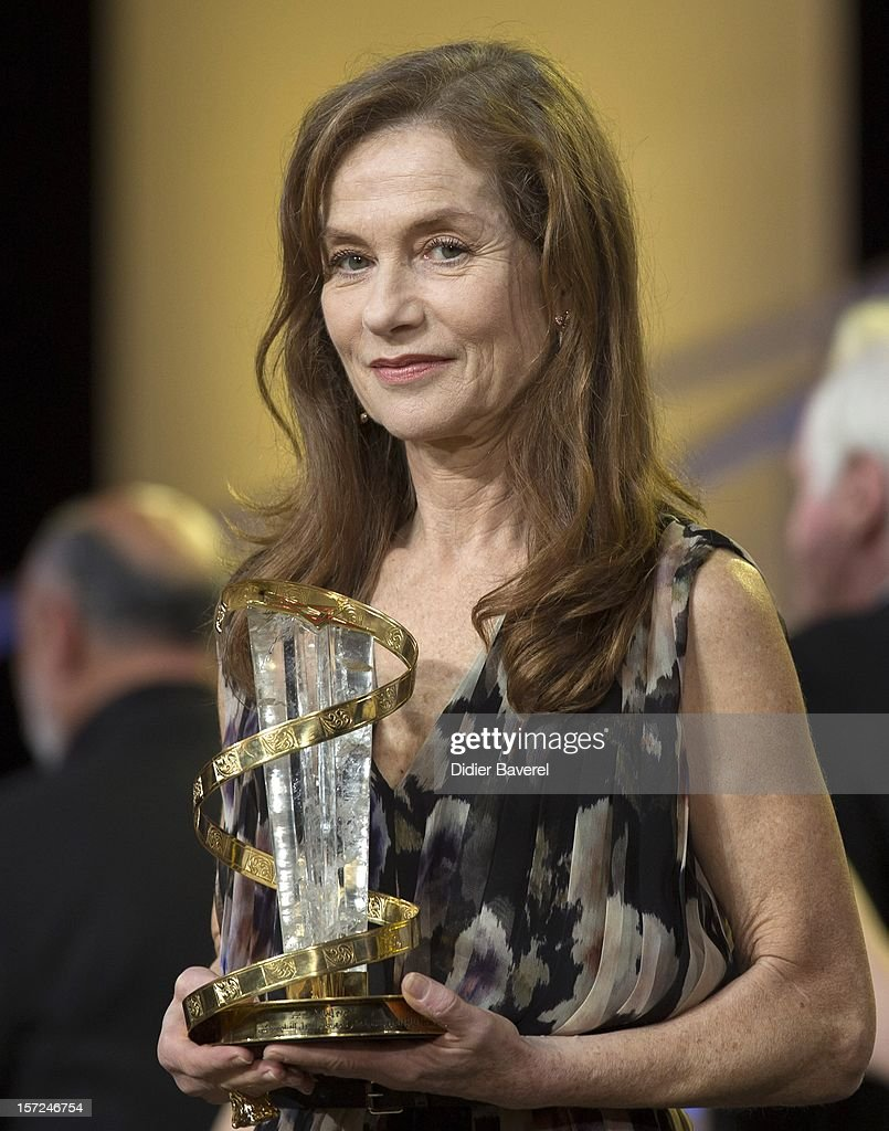 French actress Isabelle Huppert receives a tribute to her career during the opening ceremony of the 12th Marrakech International Film Festival on November 30, 2012 in Marrakech, Morocco.