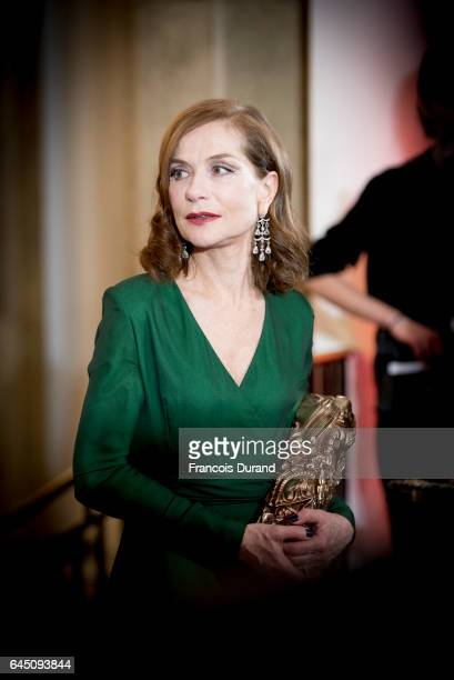 French actress Isabelle Huppert with the Cesar award for best actress during the Cesar Film Awards 2017 at Salle Pleyel on February 24 2017 in Paris...