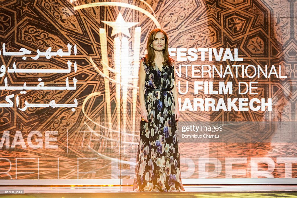 French Actress Isabelle Huppertarrives to her tribute during the opening ceremony of the 12th Marrakech International Film Festival on November 30, 2012 in Marrakech, Morocco.