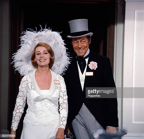French actress Jeanne Moreau and English actor Rex Harrison pictured together in character as Lady Eloise Frinton and Lord Charles Frinton in a...