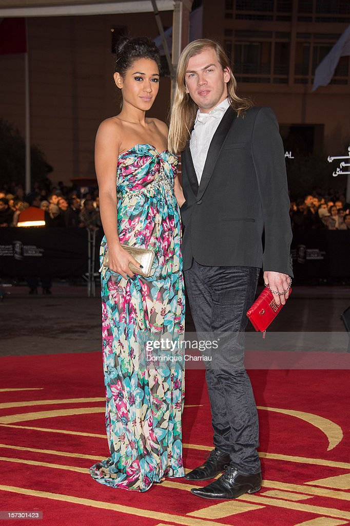 French actress Josephine Jobert and French fashion designer Christophe Guillarme arrive for the tribute to Hindi cinema at the 12th Marrakech International Film Festival Marrakech International 12th Film Festival on December 1, 2012 in Marrakech, Morocco.