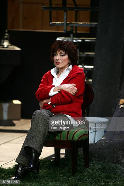 French actress Judith Magre performs during the spinning of Yves Ravey's play 'Dieu est un Steward de Bonne Composition' at the Rond Point theatre in...