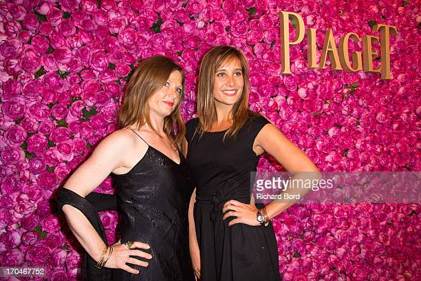 French actress Julie De Bona and guest pose during the Piaget Rose Day Private Event in Orangerie Ephemere at Jardin des Tuileries on June 13 2013 in...