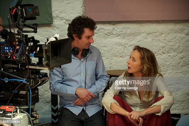 French actress Julie Ferrier with actor director and screenwriter Clément Michel on the set of his movie La Stratégie de la Poussette