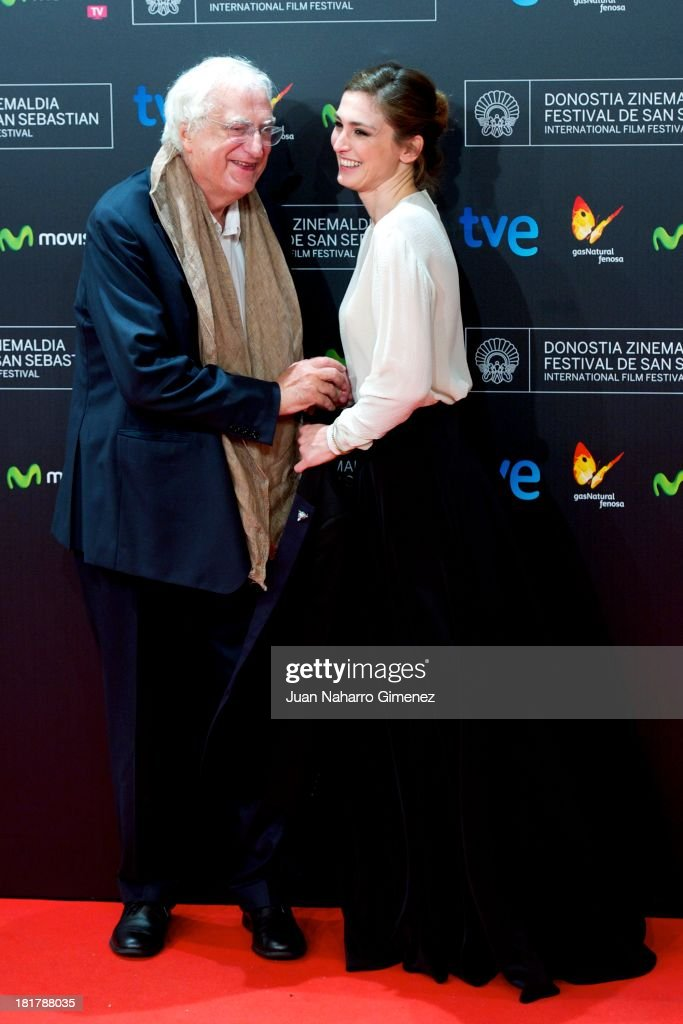 French actress <a gi-track='captionPersonalityLinkClicked' href=/galleries/search?phrase=Julie+Gayet&family=editorial&specificpeople=221651 ng-click='$event.stopPropagation()'>Julie Gayet</a> and French director Benard Tavernier attend 'Quai D'Orsay' premiere at Kursaal during 61st San Sebastian International Film Festival on September 24, 2013 in San Sebastian, Spain.