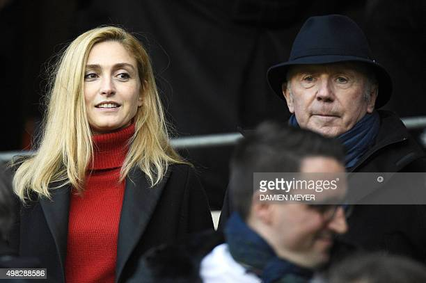French actress Julie Gayet and Stade Rennais' owner Francois Pinault attend the French L1 football match Rennes against Bordeaux on November 22 2015...