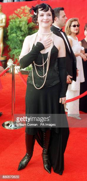 French actress Juliette Binoche arriving for the 73rd Annual Academy Awards at the Shrine Auditorium in Los Angeles USA She is wearing a corset with...