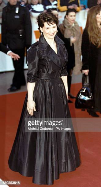 French actress Juliette Binoche attending The Orange British Academy Film Awards at the Odeon cinema in London's Leicester Square She is wearing an...