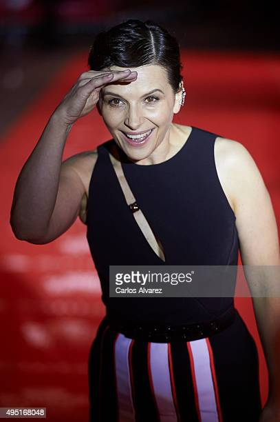 French actress Juliette Binoche attends the 60th Seminici Valladolid International Film Festival close ceremony at the Calderon Theater on October 31...