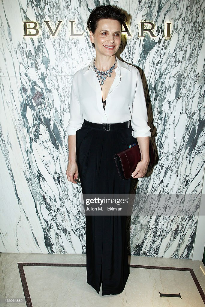 French actress Juliette Binoche attends the Bulgari Cocktail as part of Biennale des Antiquaires Pre Opening at Le Grand Palais on September 9 2014...