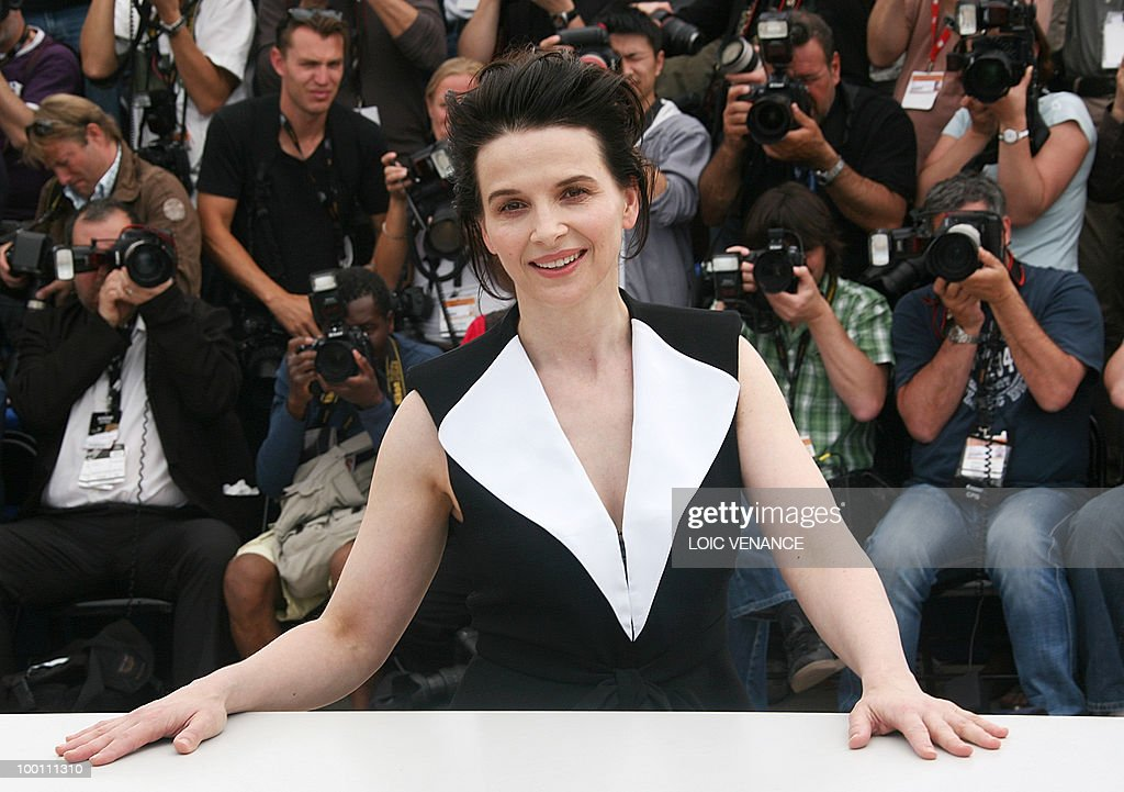 French actress Juliette Binoche poses during the photocall of 'Copie Conforme' (Certified Copy) presented in competition at the 63rd Cannes Film Festival on May 18, 2010 in Cannes.