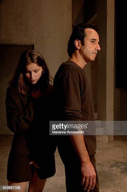French actress Laetitia Casta and Swiss actor Bruno Todeschini during the rehearsals of the play Elle t'attend written and directed by Florian Zeller...