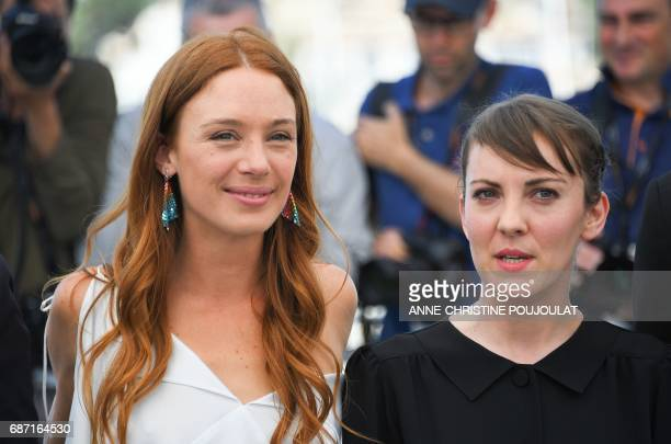 French actress Laetitia Dosch and French director Leonor Serraille pose on May 23 2017 during a photocall for the film 'Jeune Femme' at the 70th...