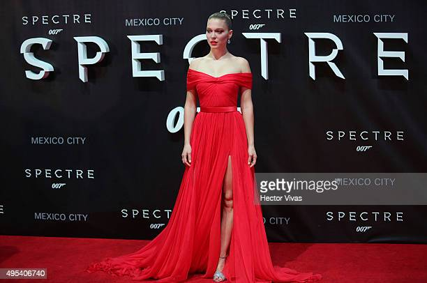 French actress Lea Seydoux poses for pictures during the red carpet of the 'Spectre' film premiere at Auditorio Nacional on November 02 2015 in...