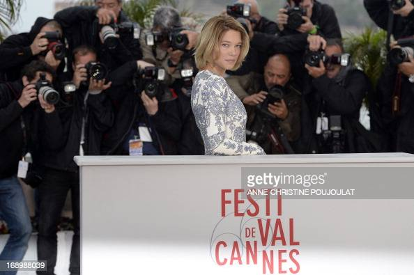 French actress Lea Seydoux poses on May 18 2013 during a photocall for the film 'Grand Central' presented in the Un Certain Regard section at the...