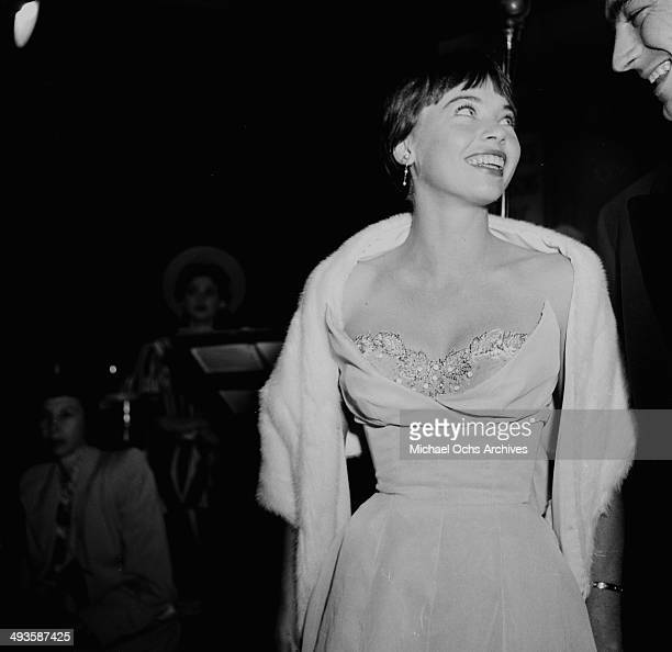 French actress Leslie Caron attends the movie premier ' An American in Paris' in Los Angeles California
