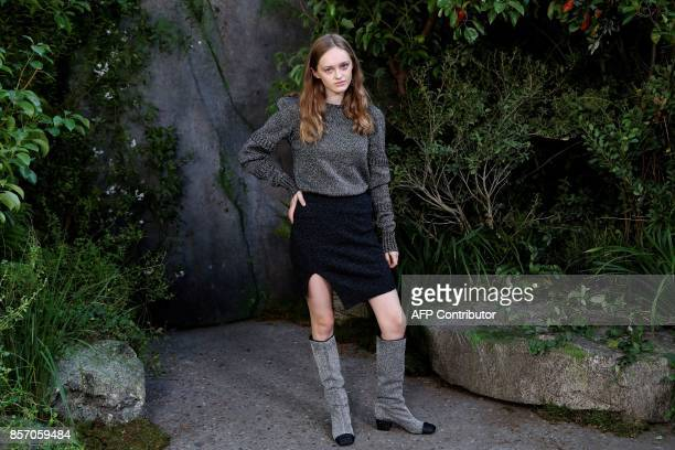 French actress Lily Taieb poses during a photocall prior to the Chanel women's 2018 Spring/Summer readytowear collection fashion show in Paris on...