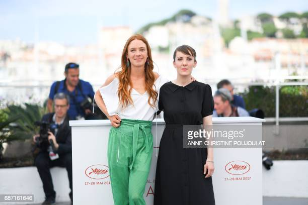French actress Lætitia Dosch and French director Leonor Serraille pose on May 23 2017 during a photocall for the film 'Jeune Femme' at the 70th...