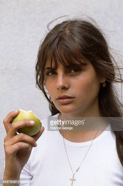 French actress Marie Trintignant on the set of the film 'Premier Voyage' directed by her mother French director Nadine Trintignant | Location St...