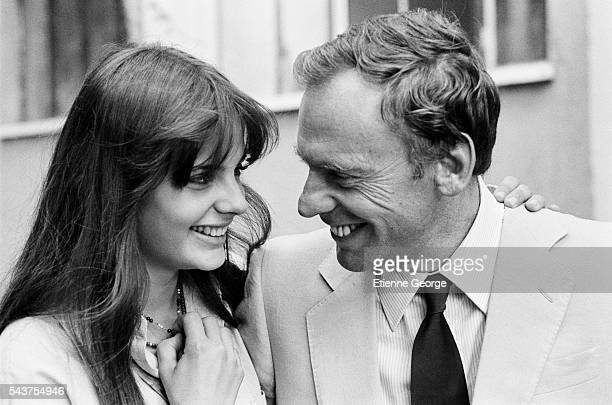 French actress Marie Trintignant with her father JeanLouis Trintignant on the set of the film 'La Terrazza' directed by Italian director Ettore Scola
