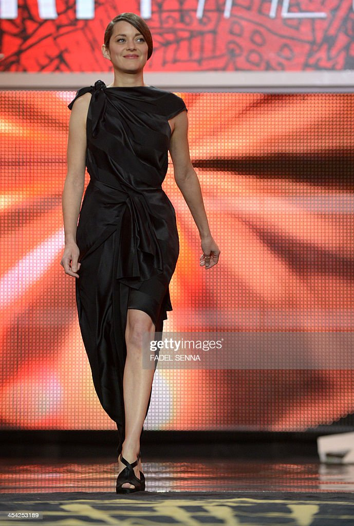 French actress Marion Cotillard is seen during the closing ceremony of the 13th Marrakech International Film Festival on December 7, 2013, in Marrakech.