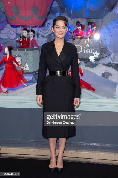 French actress Marion Cotillard launches the Christmas illuminations at Printemps Haussmann on November 9 2012 in Paris France