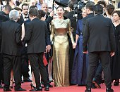 TOPSHOT French actress Marion Cotillard reacts as she arrives on May 15 2016 for the screening of the film 'Mal de Pierres ' at the 69th Cannes Film...