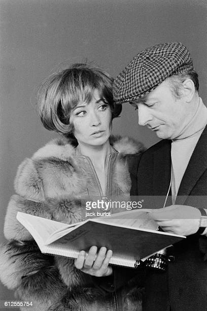 French actress Marlene Jobert with director and screenwriter Michel Audiard on the set of his movie Leontine