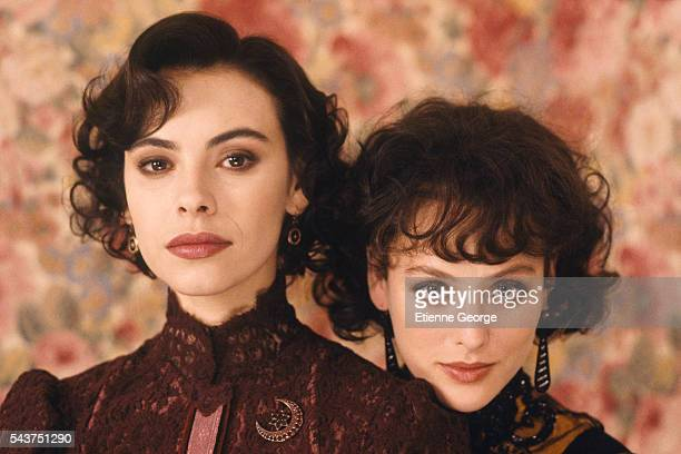 French actress Mathilda May and American actress Virginia Madsen on the set of the film 'Becoming Colette' directed by American director Danny Huston