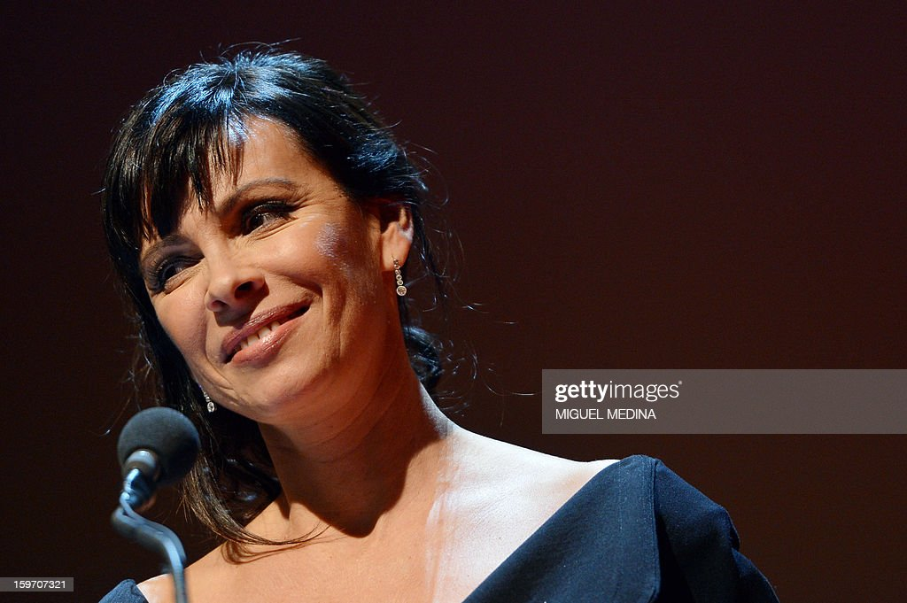 French actress Mathilda May is pictured during the 18th Lumieres awards ceremony, on January 18, 2013 at the Gaite Lyrique in Paris. International media journalists based in Paris from around 50 countries vote each year to award their own prizes to members of the French and francophone film industry. The Academy of the Lumieres paid this year a tribute to foreign actresses in French cinema and organised for the first time, the day before, the 'Francophone meetings' with hosted Tunisia, during which Tunisian director, Ferid Boughedir gave a masterclass.