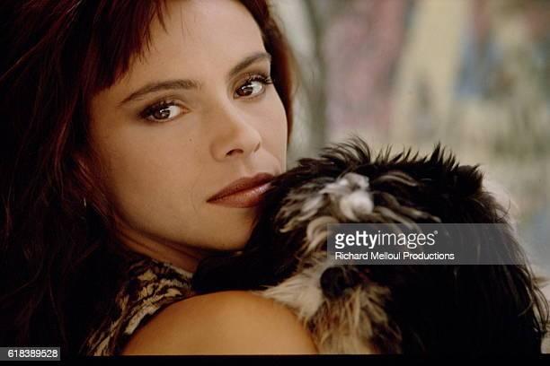 French Actress Mathilda May with Dog