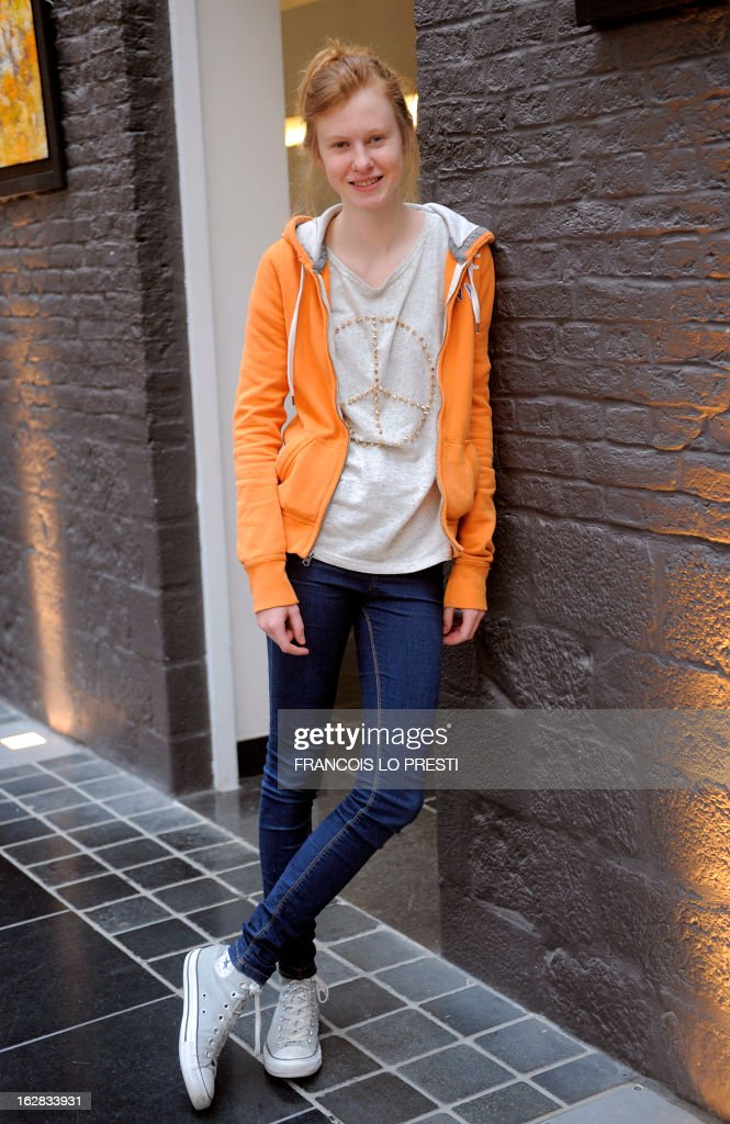 French actress Mathilde Goffart poses on February 26, 2013 in Lille, northern France, after a press presentation of his French movie 'Une chanson pour ma mere'.