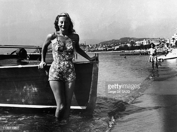 French Actress Michele Morgan poses in a bathing suit at the 1st Cannes Film Festival in Cannes France in 1946