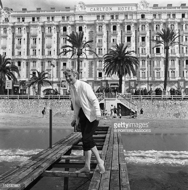 French actress Michele Morgan posing for photographers in front of Carlton hotel during the International Film Festival in Cannes Southern France in...