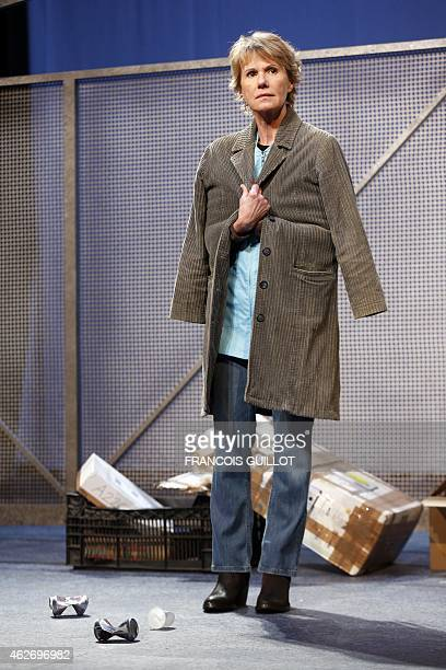 French actress Miou Miou on January 20 2015 rehearses the play 'Des gens bien' by David LindsayAbaire which opened on January 29 2015 at the Hebertot...