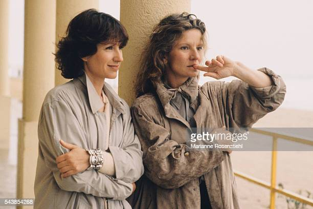 French actress Nathalie Baye and French director screenwriter and actress Nicole Garcia on the set of her film 'Every Other Weekend'