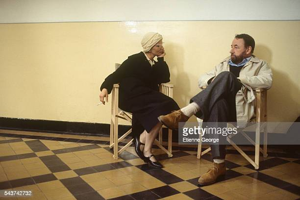French actress Nicole Garcia and French actor Philippe Noiret on the set of the film 'Le 4eme pouvoir' based on Yannick Flot's novel by the same...