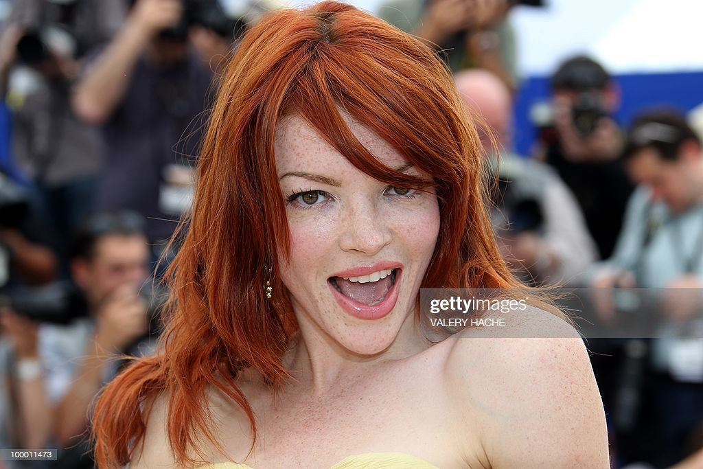 French actress Nicole LaLiberte poses during the photocall of 'Kaboom' presented out of competition at the 63rd Cannes Film Festival on May 15, 2010 in Cannes.