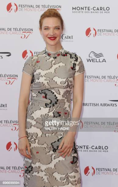 French actress Odile Vuillemin poses during the opening Ceremony of the 57th MonteCarlo Television Festival on June 16 2017 in Monaco / AFP PHOTO /...