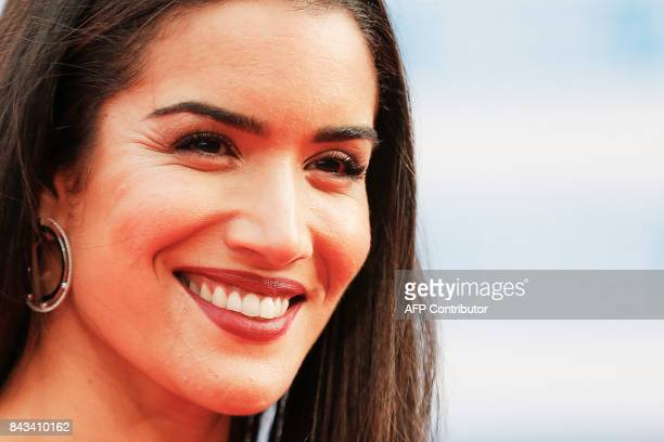 French actress Sabrina Ouazani poses as she arrives for the screening of 'The Music of Silence' on September 6 2017 during the 43rd Deauville US Film...